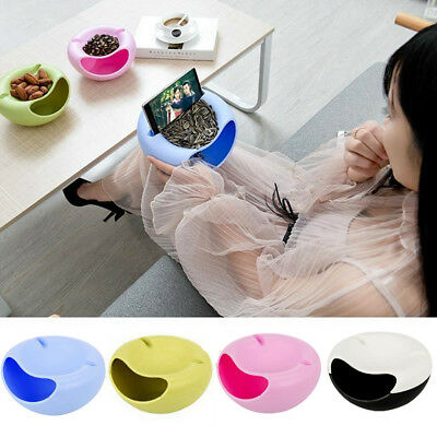 New Double Layer Snack Fruit Plate Bowl Dish Phone Holder For Tv Lazy Useful