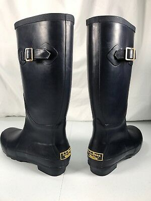daa405c82f6 LL BEAN WELLIES - WOMEN'S TALL Navy Blue RAIN BOOTS - SIZE 7 Pre Owned