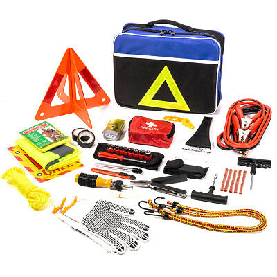 104 pc Roadside Assistance Auto Emergency First Aid Kit Tool Cables tire repair