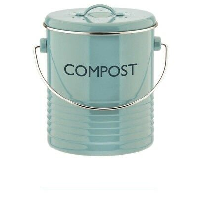 NEW Blue Metal Kitchen Compost Bin Composting