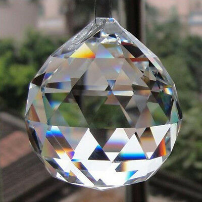 30mm DIY Glass Faceted Crystal Ball Chandelier Hanging Pendant Lamp Home Decor