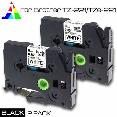 TZe-221 TZ221 Black/ White Label Tape 9mm Compatible Brother P-Touch 26.2ft 2PK