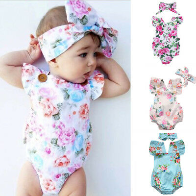 1ff767ce0907 Baby Girl Floral Romper Newborn Headband Infant Jumpsuit Bodysuit Clothes  Outfit