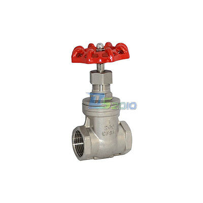 """1"""" BSPT Gate Valve Stainless Steel Valve With Red Handle Female x Female Thread"""