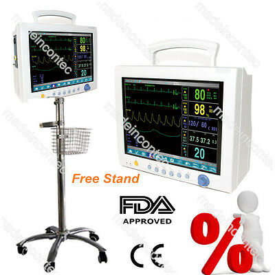 CONTEC ICU CCU Patient Monitor 12.1 Inch Vital Signs Monitor With Rolling Stand