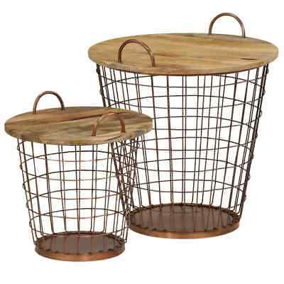 Coffee Table/Basket Set 2 Pieces Solid Mango Wood 55x50 cm Removable top UK  New