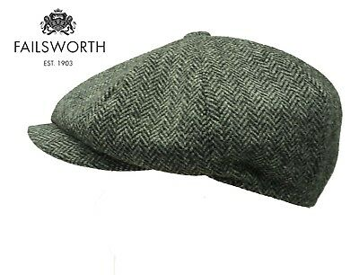 Failsworth Peaky Blinders Style Cap Newsboy English Tweed Cap GREY MerinoTweed