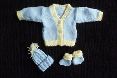Baby clothes BOY premature/tiny<3lb/1.4kg soft blue/yellow cardigan/hat/bootees