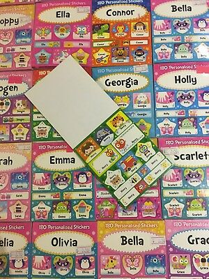 180 Personalised Stickers Labels Stick-on Back School Fun Colourful Cute Unicorn