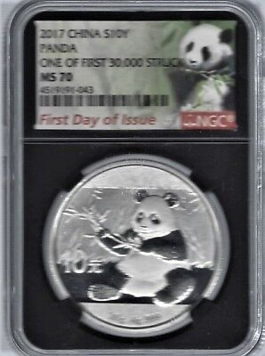 2017 China .9999 Silver Panda S10Y NGC MS 70 First Day of Issue  RETRO LAVEL