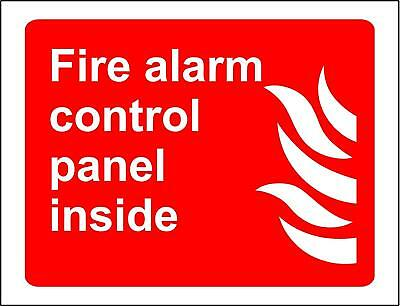 Fire alarm control panel inside Safety sign