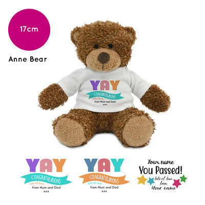 Personalised Name Congratulations Anne Teddy Bear Well done GCSE Exam Gifts
