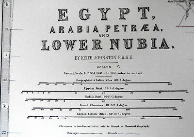 1873 Antique Map - Egypt, Lower Nubia - By AK Johnston