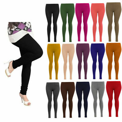 Ladies Womens Viscose Plain Stretchy Soft Leggings Elasticated Waist Plus Size