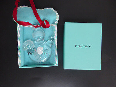 New Tiffany & Co Snowman Christmas Tree Crystal Glass Ornament with Box & Pouch