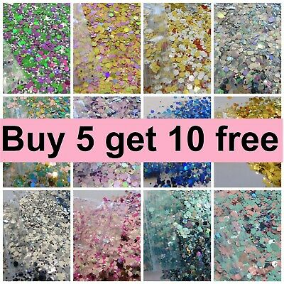 Festival Glitter Mix Chunky Cosmetic Tattoo Eye Lips Body Face 12 bags for £6.45
