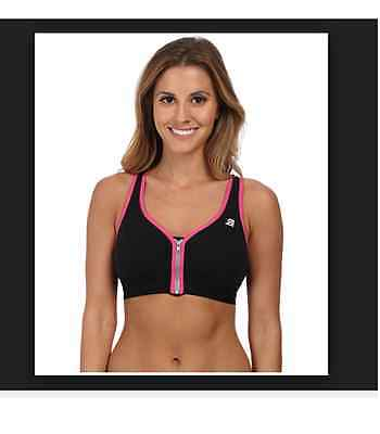 db788bb42cfe9 Shock Absorber Active Zipped Plunge Sports Bra S00BW Black And Pink Size 32C