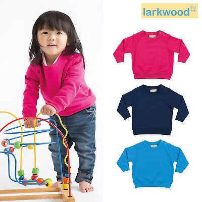 Larkwood Kids Shoulder Poppers Sweatshirt LW006 - Crew Neck Warm Soft Jumper