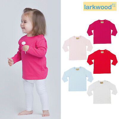 Larkwood Baby Long Sleeved T-shirt LW021 - Children's Crew Neck Cotton Top Tee