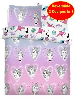 Cotton Blend - Disney Princess Double Duvet Quilt Cover Set Pink Girls Bedroom