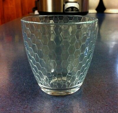PAIR OF 2 - PASABAHCE - CLEAR BLOCK ILLUSION 12 oz  DOUBLE OLD FASHIONED GLASSES