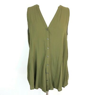 eda249275 Anthropologie Maeve Size 8 Olive Green Top Sleeveless Button Down Shirt  Blouse