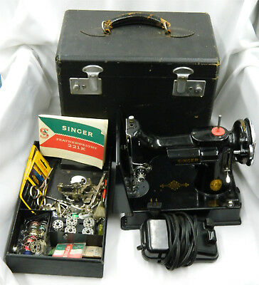 1946 Singer Featherweight 221 Sewing Machine w/ Attachments & Case!