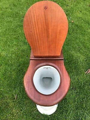 Victorian Antique WC Toilet Twyford's The Deluge 1889 & Original Mahogany Seat