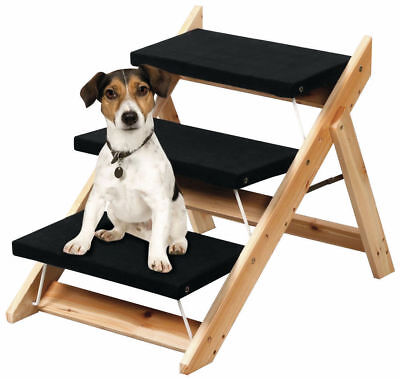 2-in-1 FOLDING PET LADDER/ RAMP CONVERTIBLE 3 STEP LADDER PORTABLE PET STAIRS