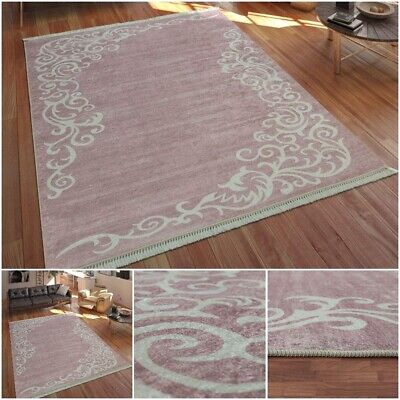 Stylish Printed Tendril Pattern Carpet Low Pile Pink White Tones Living Area Rug