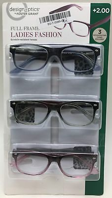 a9f88074d1 Design Optics 3 FULL-FRAME Ladies Fashion Reading Glasses +2.00 - NEW Open  Pack