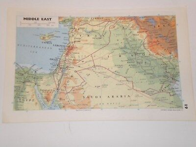 MIDDLE EAST Map 1973 Original Antique Vintage  EGYPT , LIBYA , SYRIA , IRAQ IRAN