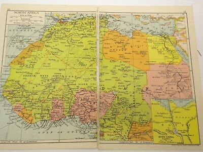 "1942 NORTH AFRICA Map Original Antique Vintage 14.6"" x 9.6"" SUDAN LIBYA"