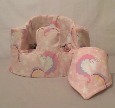 handmade seat cover with harness holes bumbo bib pink unicorn