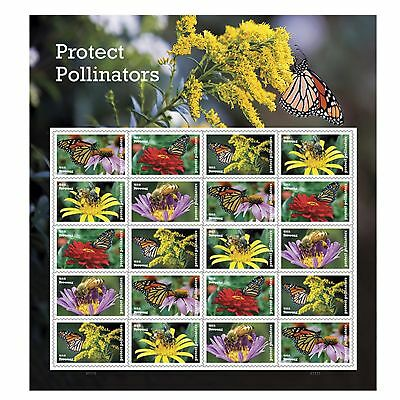 Protect Pollinators Sheet of 20 Forever USPS First Class one Ounce Postage St...