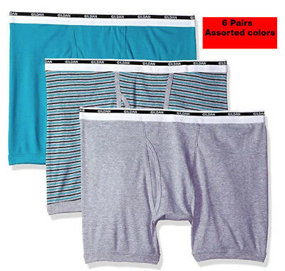 85e41a5dc3ec 6 Pack Men's Gildan Boxer Briefs 100% Cotton Plush Waistband Premium  Underwear