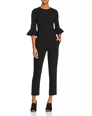 0b94acdaa7ae  490 Black Halo Womens Black Brooklyn Crew-Neck Cropped Cocktail Jumpsuit  Size 8