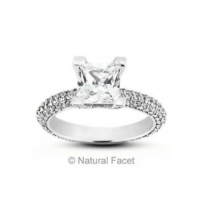 439a95ef7 1.84 Carat D/VS2/Ideal Princess Natural Diamonds White Gold Pave-Rows Ring