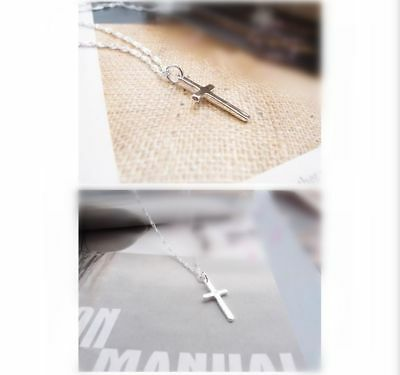 """925 Sterling Silver PLT Small Mini Plain Smooth Cross Pendant Necklace 18""""Gift"""