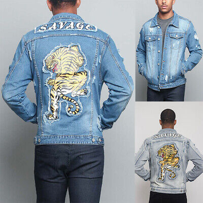 1cdc81c8e40 Victorious Men s Ripped Distressed Savage Tiger Washed Denim Jean Jacket  DK133-L