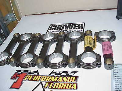 """8 NEW Crower 6.350"""" I-Beam Mid Weight Racing Rods 2.00"""" Small Journal SB Chevy"""