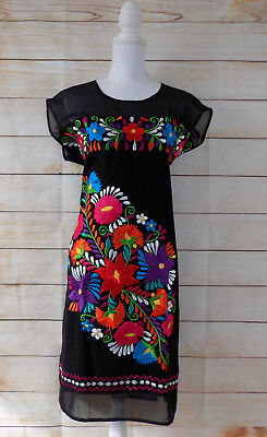 Handmade Womens Floral Embroidered Mexican Dress Large Vestido Bordado Mexicano
