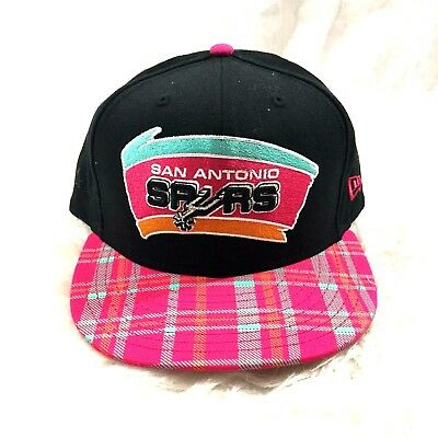 new style 5aaac 5d979 San Antonio Spurs New Era 9FIFTY Black Pink Plaid Snapback Hat Cap  Basketball