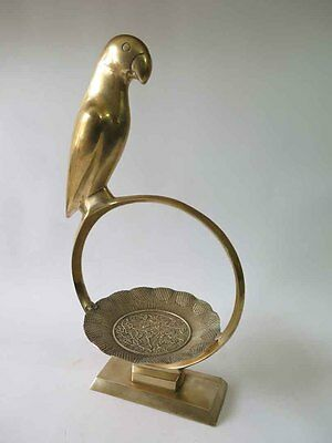 """Vintage Large 18"""" Brass Parrot on the Perch Nice Polished"""