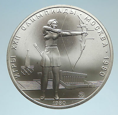 1980 RUSSIA Silver Proof 5 Roubles Coin MOSCOW SUMMER OLYMPICS i75185