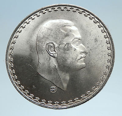 1970 EGYPT with President Nasser Genuine Silver 50 Piastres Egyptian Coin i75190