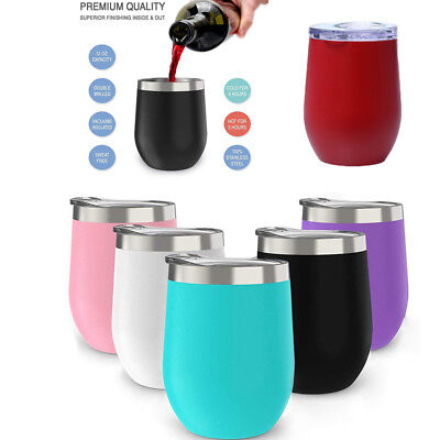 12oz Metal Stainless Steel Wine Glass Tumbler Double Wall Insulated Rambler Cup&