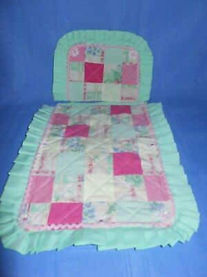 Dolls Bed Cot Pram Cradle Patched & Quilted Cover Set in Apple Green Pink