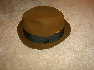 bd7e5963f8a Resistol 737 Vintage Fedora Hat 7 3 8 Mens Brown Self Conforming Kitten  Finish