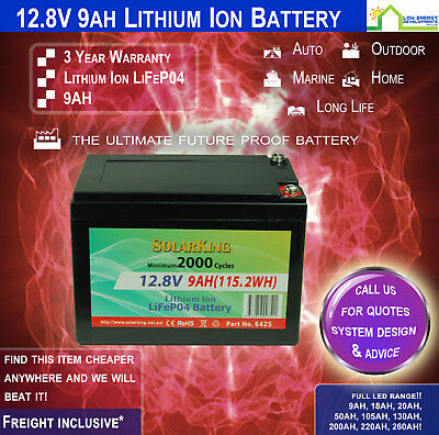 12V 9ah Lithium Ion LiFePo4 Deep Cycle Rechargeable Battery - (Pick Up)